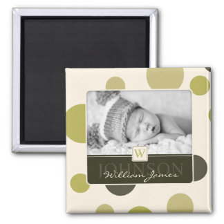 Olive Dot Print Birth Announcement Magnet
