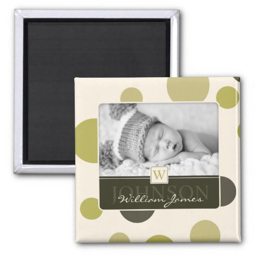 Olive Dot Print Birth Announcement Magnets