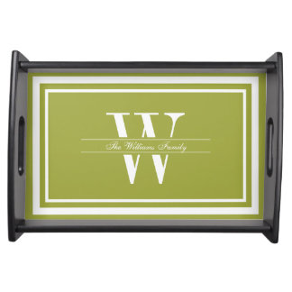 Olive Double Border Monogram Serving Tray