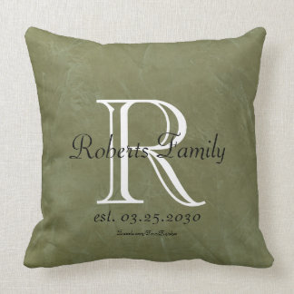 Olive Faux Leather Monogram Anniversary Throw Pillow