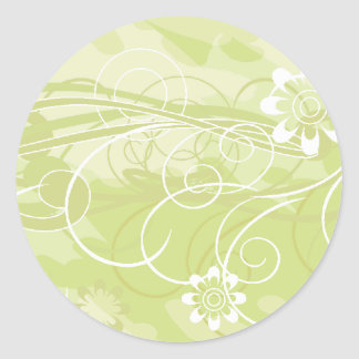 olive flowers classic round sticker