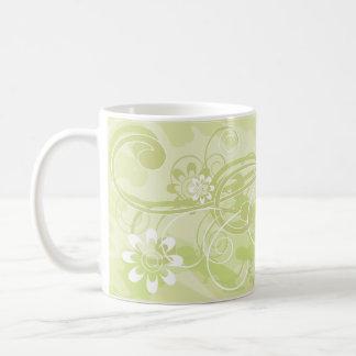 olive flowers basic white mug
