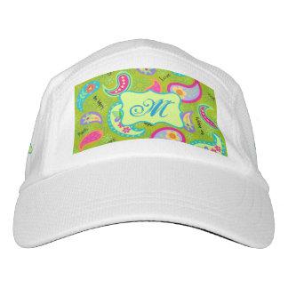 Olive Greeen Modern Paisley Monogram Initial Hat