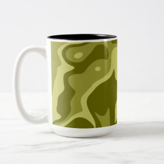 Olive green abstract pattern Two-Tone coffee mug
