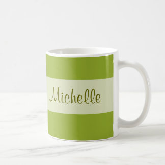 olive green Add your Name Basic White Mug