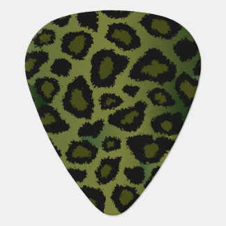 Olive Green And Black Leopard Pattern Plectrum