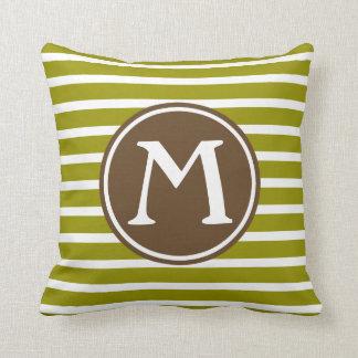 Olive Green and Chocolate Brown Stripe Monogram Cushion