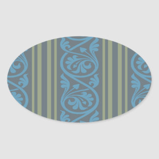 olive green and classy blue stripes damask-01 stickers