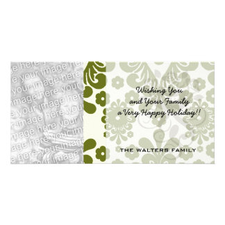 olive green and cream floral damask pattern customized photo card