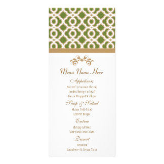 Olive Green and Gold Moroccan Menu Rack Card Template