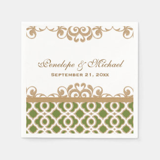 Olive Green and Gold Moroccan Wedding Disposable Napkin