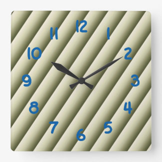Olive Green and Tan Gradient Lines Wall Clock