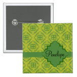 Olive Green Arabesque Moroccan Graphic Pattern 15 Cm Square Badge