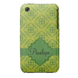 Olive Green Arabesque Moroccan Graphic Pattern Case-Mate iPhone 3 Cases