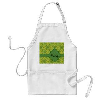 Olive Green Arabesque Moroccan Graphic Pattern Standard Apron