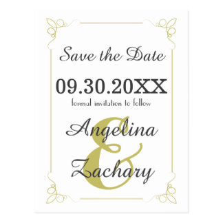 Olive Green Art Deco Save The Date Post Card