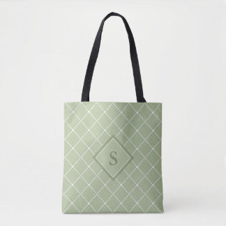 Olive Green back with stylised white diamond shape Tote Bag