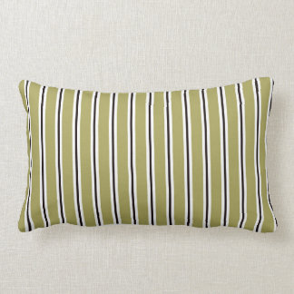 Olive Green Black and White Striped Pillow