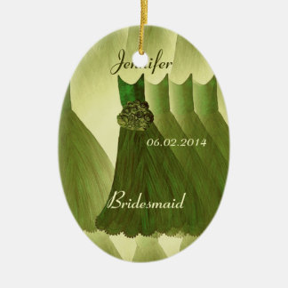 OLIVE GREEN Bridesmaid Thank You Wedding Ceramic Oval Decoration