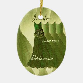 OLIVE GREEN Bridesmaid Thank You Wedding Ceramic Oval Decoration