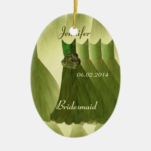 OLIVE GREEN Bridesmaid Thank You Wedding Christmas Ornaments