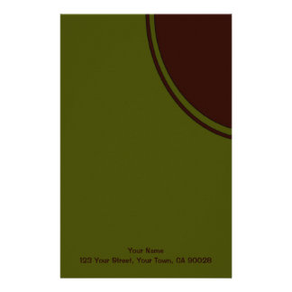 Olive Green Brown Mod Circle Stationery Paper