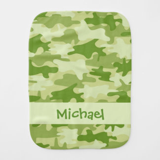Olive Green Camo Camouflage Name Personalized Burp Cloth