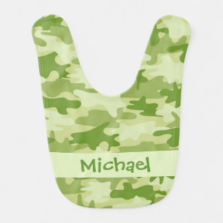 Olive Green Camo Camouflage Name Personalized Baby Bib
