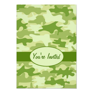 "Olive Green Camo Camouflage Party Event 5"" X 7"" Invitation Card"