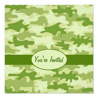 Olive Green Camo Camouflage Party Event Square 13 Cm X 13 Cm Square Invitation Card