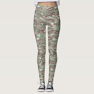 Olive Green Camouflage Print Leggings