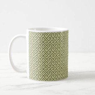 Olive Green Celtic Spiral Right Angle Lines Basic White Mug
