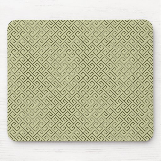 Olive Green Celtic Spiral Right Angle Lines Mouse Pad