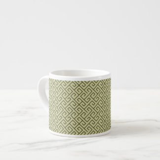 Olive Green Celtic Spiral Right Angle Lines Espresso Cup