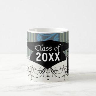 olive green classy blue stripes damask graduation basic white mug