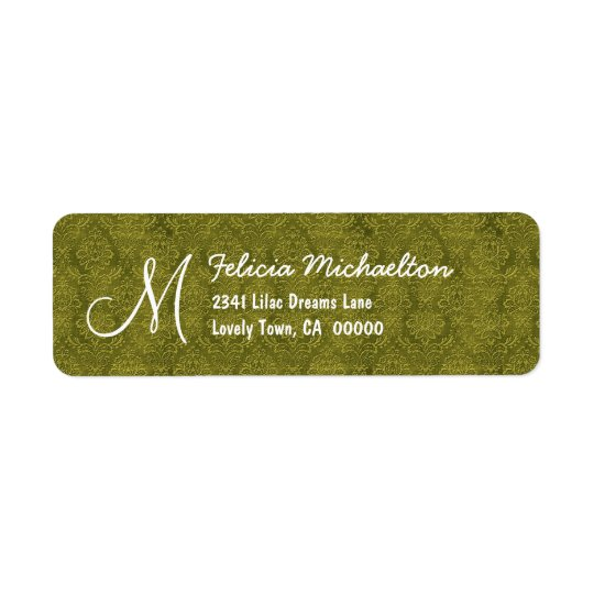 Olive Green Damask Monogram M or Any Initial M006 Return Address Label