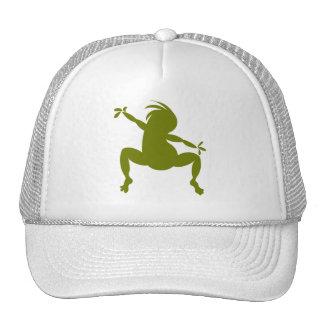 Olive Green Dancing Kokopelli Cap