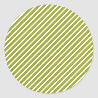 Olive green diagonal stripe pattern classic round sticker