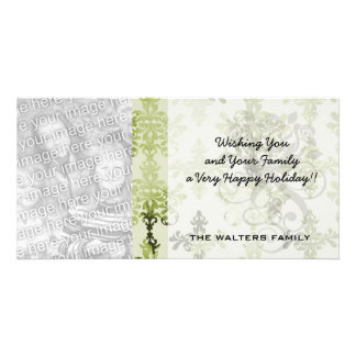 olive green distressed damask photo greeting card