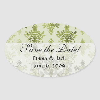 olive green distressed damask oval sticker