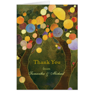 Olive Green Fall Love Trees Wedding Thank You Note Card