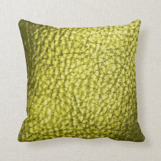 Olive Green Faux Leather New Throw Pillow