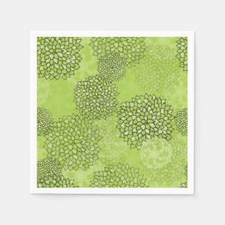 Olive Green Flower Burst Disposable Napkin