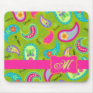 Olive Green Fuchsia Pink Modern Paisley Monogram Mouse Pad