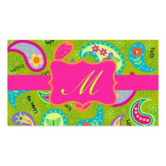 Olive Green Fuchsia Pink Modern Paisley Monogram Pack Of Standard Business Cards