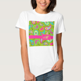 Olive Green Fuchsia Pink Modern Paisley Monogram Tees