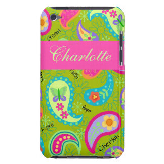 Olive Green Fuchsia Pink Modern Paisley Pattern Barely There iPod Cases