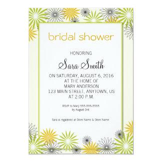 Olive Green, Gold & Black Floral Bridal Shower 13 Cm X 18 Cm Invitation Card