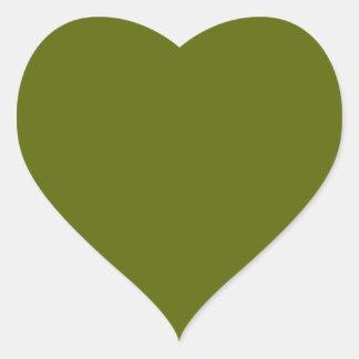 Olive Green Heart Sticker