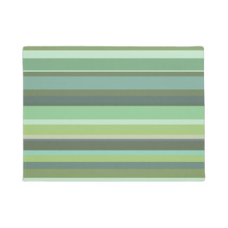 Olive green horizontal stripes doormat